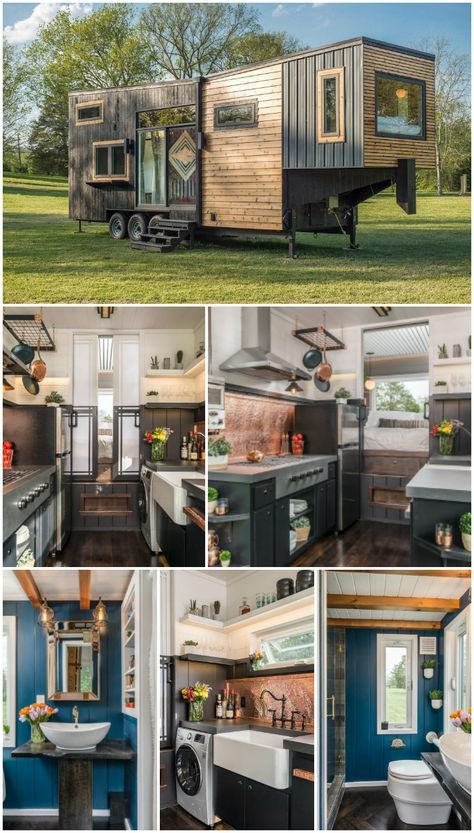 Luxury Tiny Home! A completely custom tiny house built on a gooseneck trailer with two bedrooms. Built and shared by New Frontier Tiny Homes.