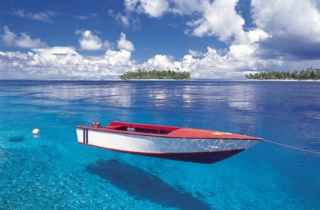 In Tahiti you can see 135 feet below the surface... it almost looks like the boat is floating in the air....