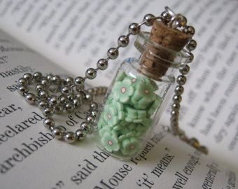 Green Clay Flowers 1ml Glass Vial Necklace - Polymer Clay Cork Bottle Pendant - Flower Bottle Charm