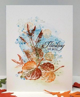 Stampin' Up! ... handmade card ... one layer ... gorgeous collage stamping ... leaves, script, watercolr spots ... beautiful Fall colors ... great card!