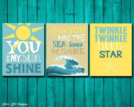 Beach decor. Beach theme nursery. Beach house art. Ocean beach theme. Nautical nursery. Twinkle Twinkle Little Star. You are my sunshine. 3!