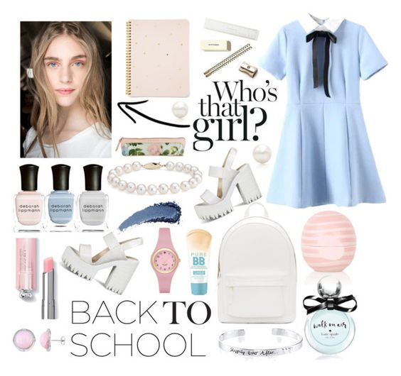 """""""Back to school"""" by eks02 ❤ liked on Polyvore featuring Sugar Paper, PB 0110, Ted Baker, Christian Dior, Kate Spade, Tiffany & Co., Blue Nile, Deborah Lippmann, Topshop and Maybelline"""