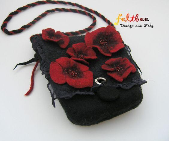 Filz-Tasche Mohn, gefilzt von feltbee - Design aus Filz auf DaWanda.com