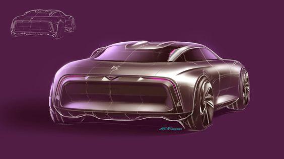 DS luxury sedan sketch by Carlos Brito