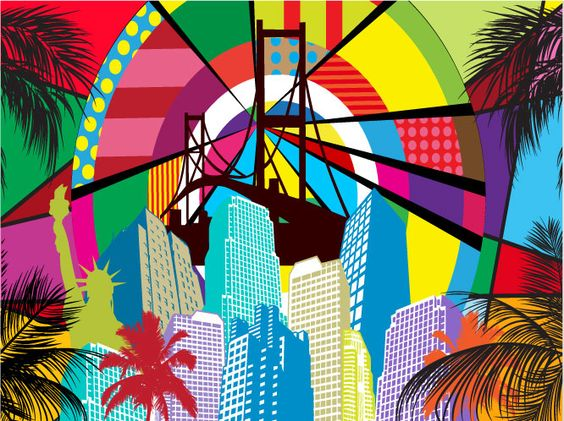 Colorful and fun vector layout with urban illustrations and landmarks in bright colors. Bright color images of the Statue Of Liberty, Golden Gate bridge, many buildings and skyscrapers, silhouettes of palm trees and abstract shapes in the sky. Free vector graphics for wallpapers and backgrounds.