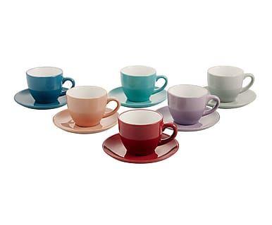 Kaffeetasse Drive mit Untertasse, 6 Stück, H 6 cm