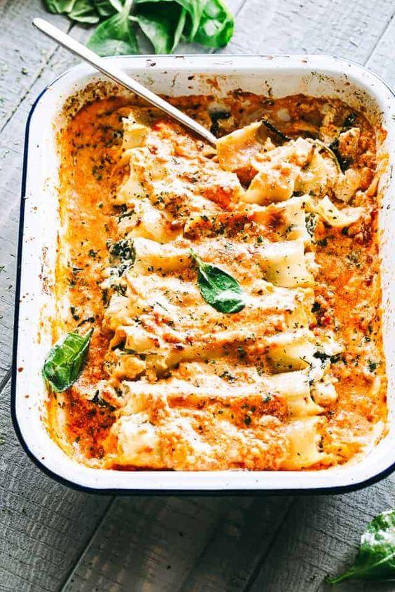Creamy Ricotta Spinach and Chicken Cannelloni