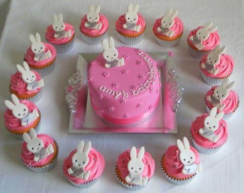 Nijntje taart en cup cakes geboorte jongen meisje for Decoratie cupcakes