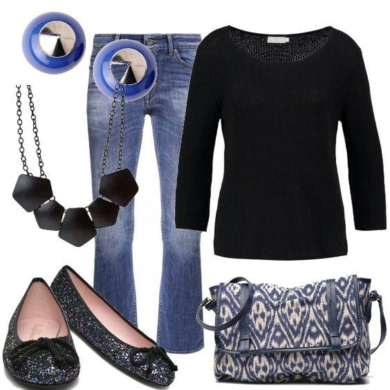 """Look """"Casual friday"""" per passare direttamente dal lavoro al fine settimana. I jeans modello capri sono indossati con una comoda maglia nera. Le ballerine sono brillanti e la borsa capiente e bella e comoda. Orecchini e collana seguono i colori dell'outfit."""
