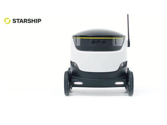 GPS-gesteuerte Delivery-Service mit Elektroantrieb liefert Supermarkteinkäufe in Laufgeschwindigkeit leise surrend nach Hause.starship.xyz