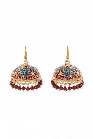Gold plated jhumki earring for women