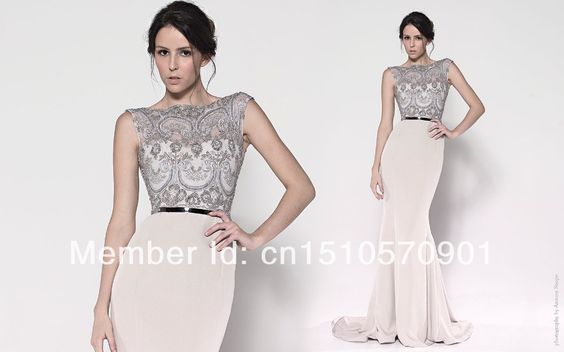 2014 New Fashion Elegant Sexy Mermaid Sleeveless Sequined Sashes Lace Appliques Celebrity Dresses US $108.00