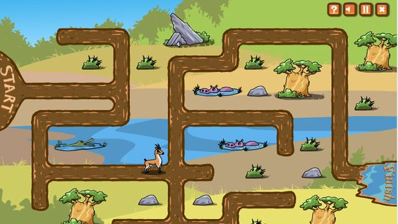 African Animals Maze Game