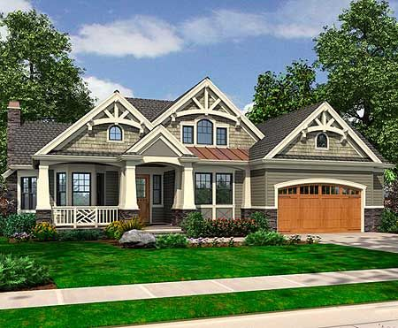 Craftsman bonus rooms and house on pinterest for Rambler house plans with basement