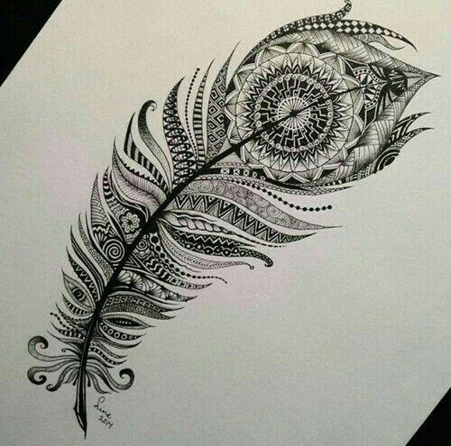 Tatoo plume de paon mandala
