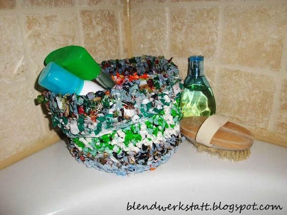 A basket made with plastic bags