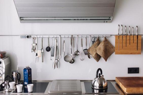 Rösle hanging system for kitchen utensils. FvF, Erik Spiekermann's Berlin Apartment   Remodelista