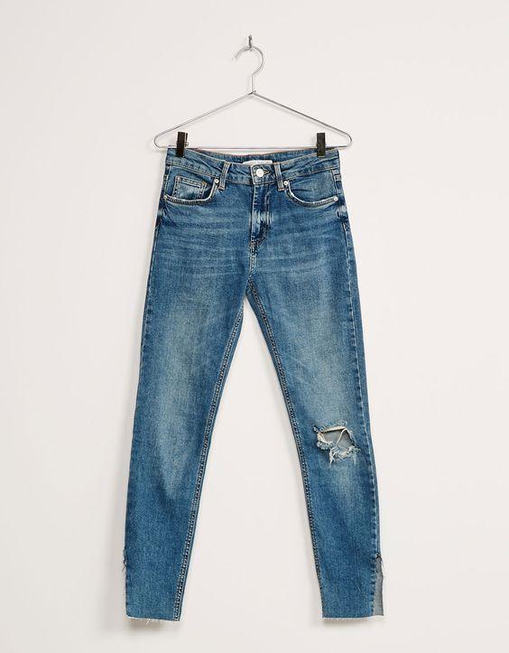 Jean skinny taille basse ouvertures sur les côtés - Jeans - Bershka France