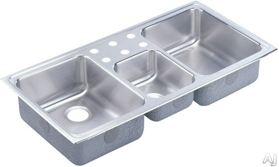 "Elkay LCR43220 43"" Top Mount Triple Bowl Stainless Steel Sink with 18-Gauge, 7-7/8"" Left/Right Bowl Depths, Self-Rim and U-Channel Mounting System: No Holes"