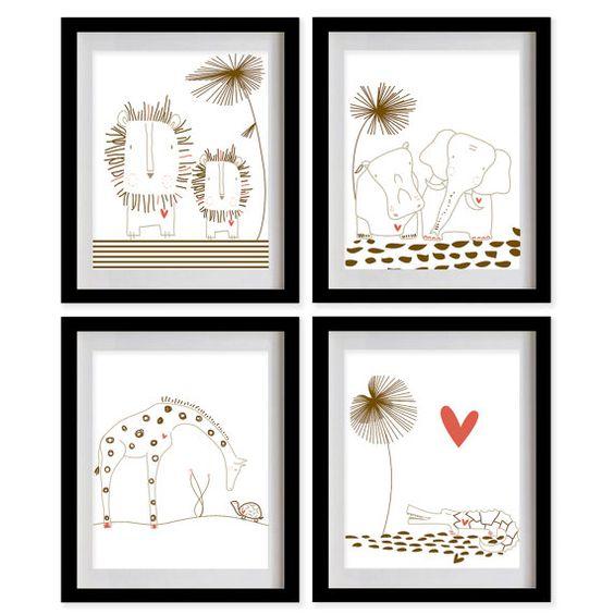 ON SALE Safari Animals Nursery Art Print  by MadeForYouPrints