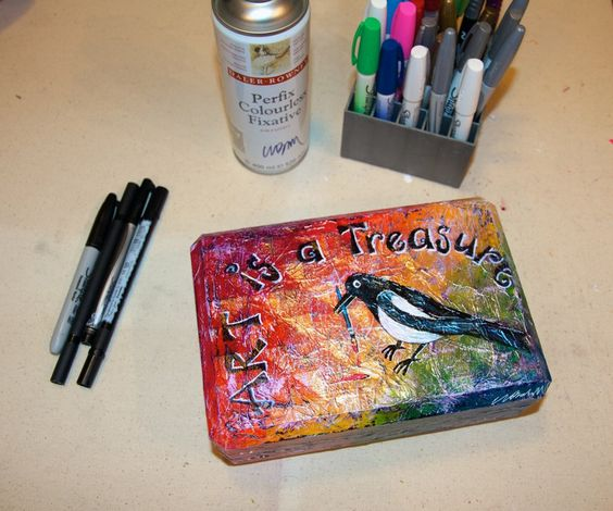 Tutorial: Turn Christmas candy containers into an art journal treasure box!