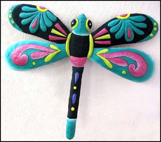 Dragonfly Garden Art Haitian Hand Painted Metal Wall Decor M 950 TQ 24 3395