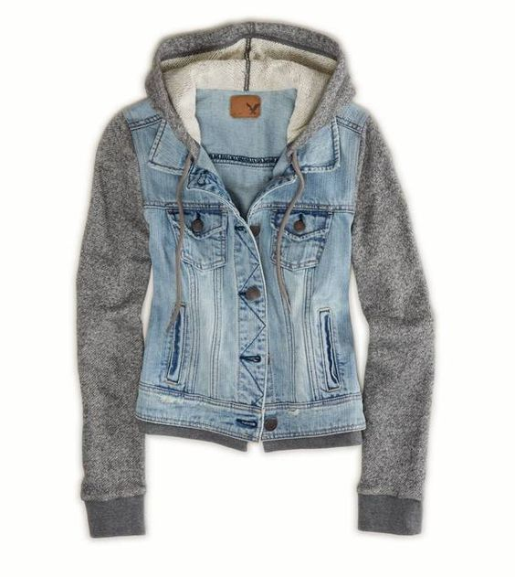 Grey cotton sleeves denim vest hoodie jacket by American Eagle