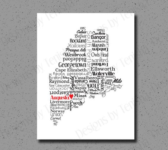 Maine Print Maine Map ME State Art State Map Maine Art Maine – Maine Travel Map
