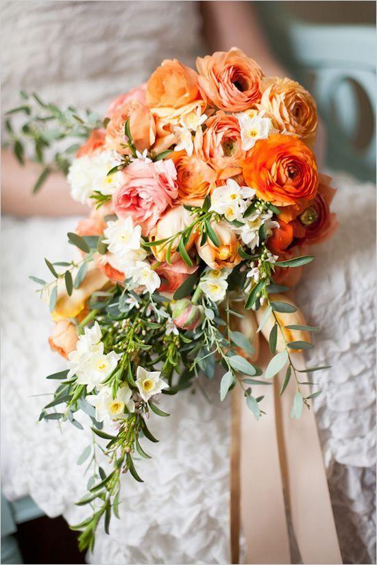 Cascading Citrus Bridal Bouquet Ranunculus Wedding Bouquet