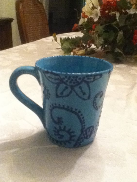 Painted pottery. Darker color on top of color