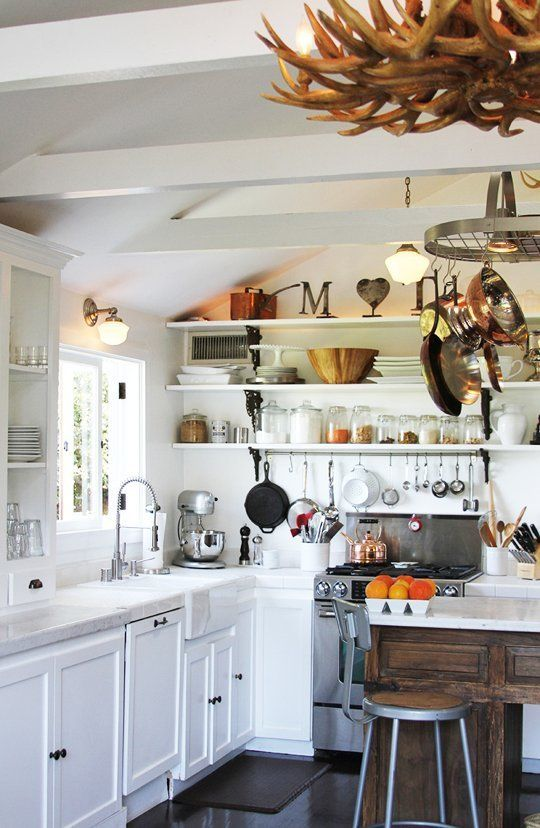20 organized kitchens from real cooks hang your most used pans near the stove and put the others on a pot rack over the island