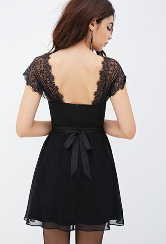 Lace Sleeve Chiffon Dress | FOREVER 21 - 2000101332