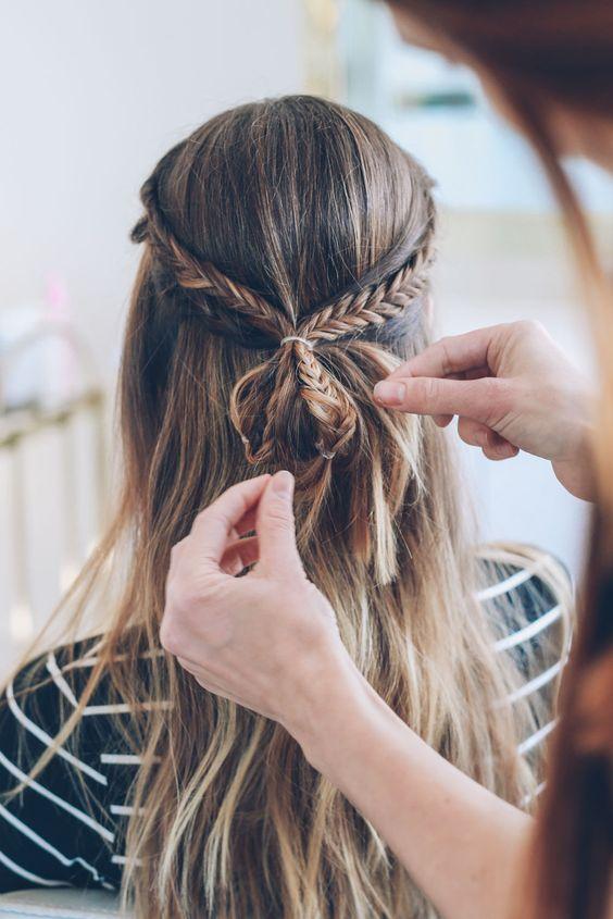 Fishtail braid bun half-up hair tutorial