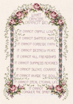JANLYNN What Cancer Cannot Do Counted Cross Stitch Kit