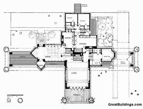 Second floor plan ward w willits house 1901 highland for Frank lloyd wright prairie style house plans