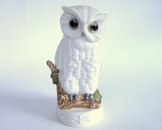 Vintage White Owl Lamp Snowy Owl Ceramic Figurine Night