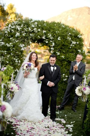 Greenery and Floral Wedding Arch at Santa Barbara Venue and if you need a celebrant call me at (310) 882-5039