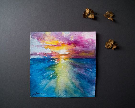 Beach watercolor painting original watercolor by ArtbyIsaFerreira
