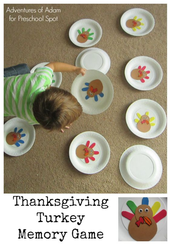 Thanksgiving turkey memory game for preschool