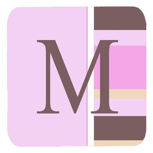 Set of 4 Monogram - Pink Stripes Foam Coasters Initial Letter M