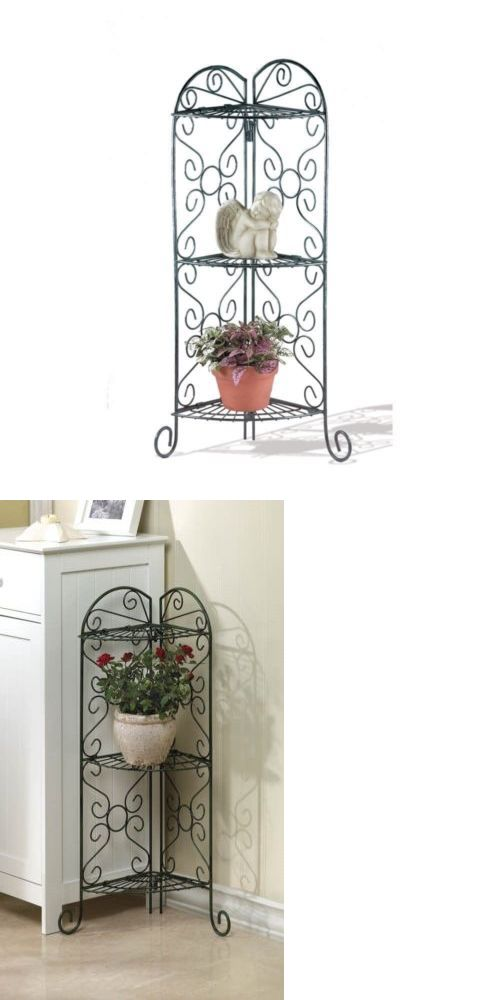 Plant Stands 29514 Plant Stand Corner Shelf Small Space Saving Green Metal Display Unit Buy It Now Only 28 59 On Plant Stand Corner Plant Metal Display