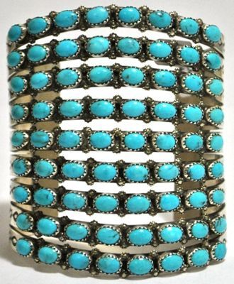 Navajo Turquoise Sterling Silver Cuff Bracelet - Viola Nez Measures 5-7/8 around with a 1-1/2 gap, 3-1/8 wide