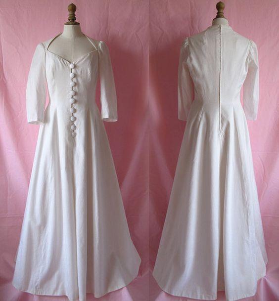 1980s French  wedding dress