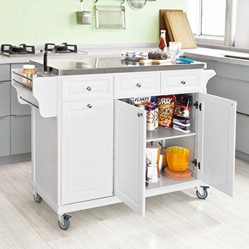 So White Luxury Kitchen Island Storage Trolley Cart Cabinet With Stainless Steel Worktop