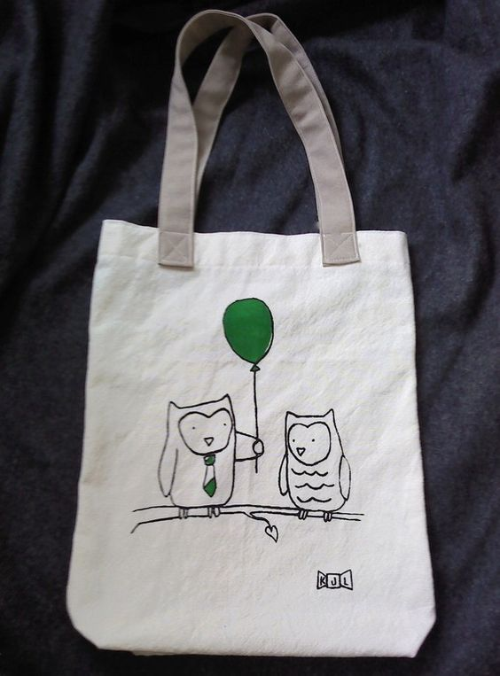 organic cotton owl tote - landon and loulou limited ed. print