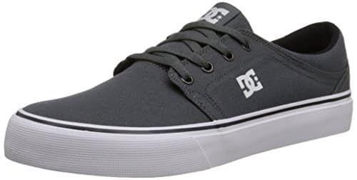 DC Men's Trase TX Skate Shoe, Grey/Grey/White, 13 M US: 6oz Canvas Upper HD Print Logo Vulcanized Construction