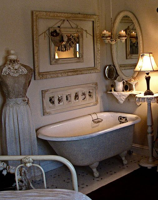 """beautiful bathroom ~ Another pinner said:  """"I <3 a table lamp in the bathroom... it adds such ambiance."""""""