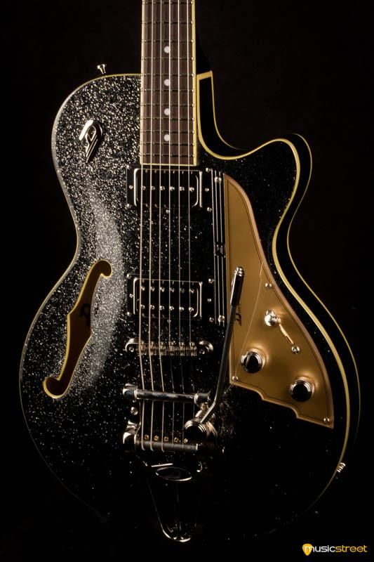 Duesenberg Starplayer Tv In Black Sparkle With Hard Case Guitar