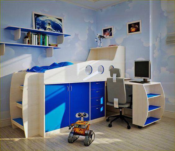 kinderzimmergestaltung kinderhochbett treppen schubladen blaue ... | {Kinderhochbett mit treppe 27}