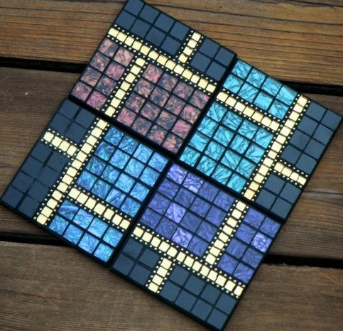 Mosaic Coaster Set Of Four 40 00 Via Etsy For The